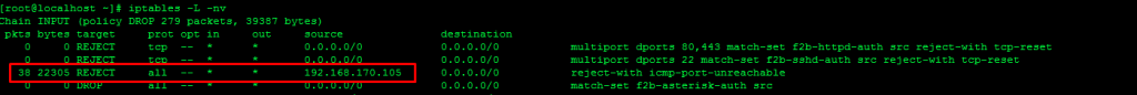 iptables REJECT