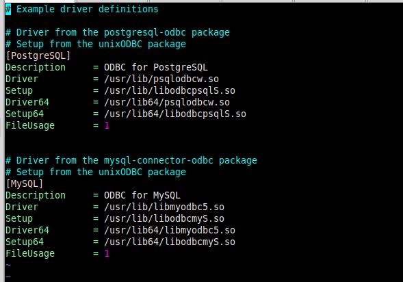 содержимое файла /etc/odbcinst.ini