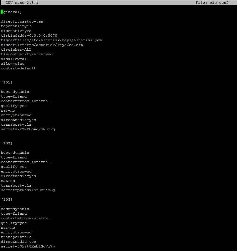 Конфигурация файла sip.conf