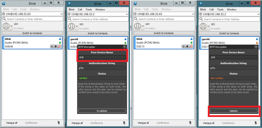 Валидация в софтфонах Blink