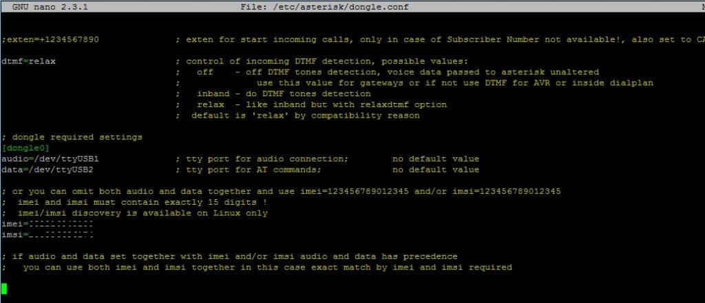 Настройка конфигурационного файла  dongle.conf