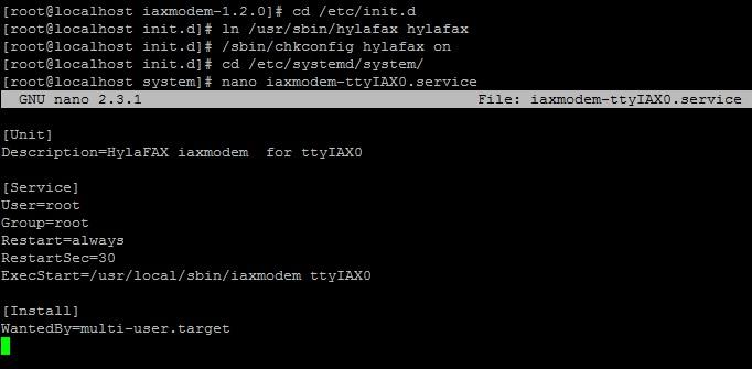 Создание сервиса для iaxmodem