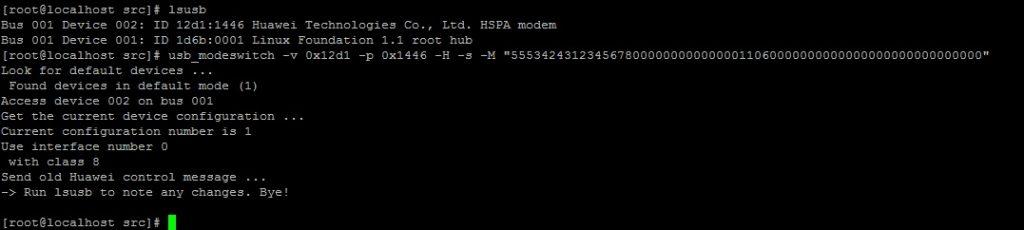 Результат выполнения usb_modeswitch