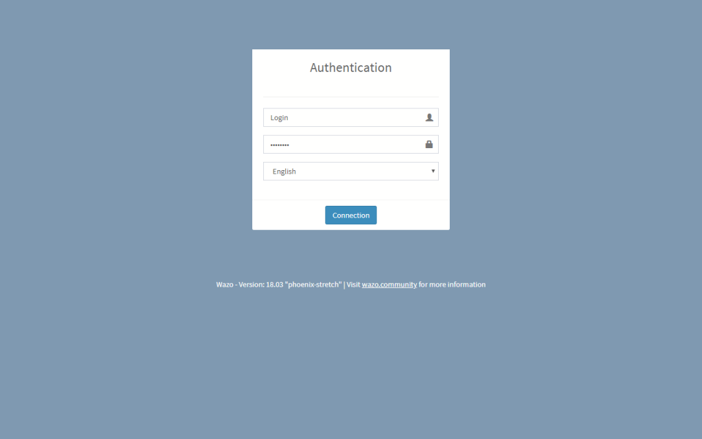 Вход на основной web-интерфейс Wazo