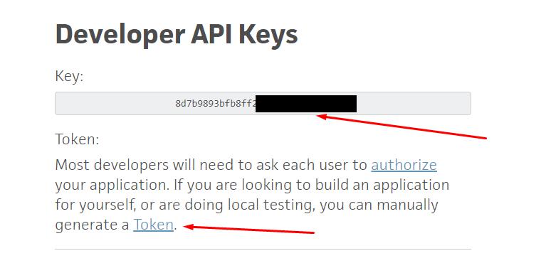 Получение API ключа