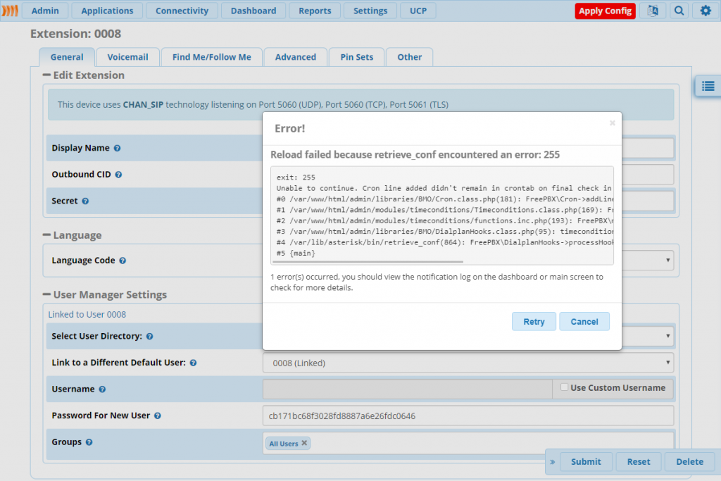 Ошибка 255 в retrieve_conf из web-интерфейса