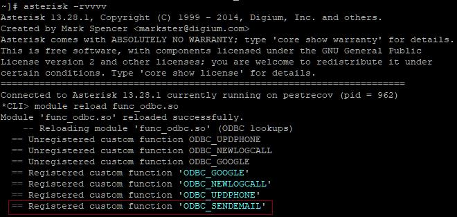 Перезагрузка модуля func_odbc.so