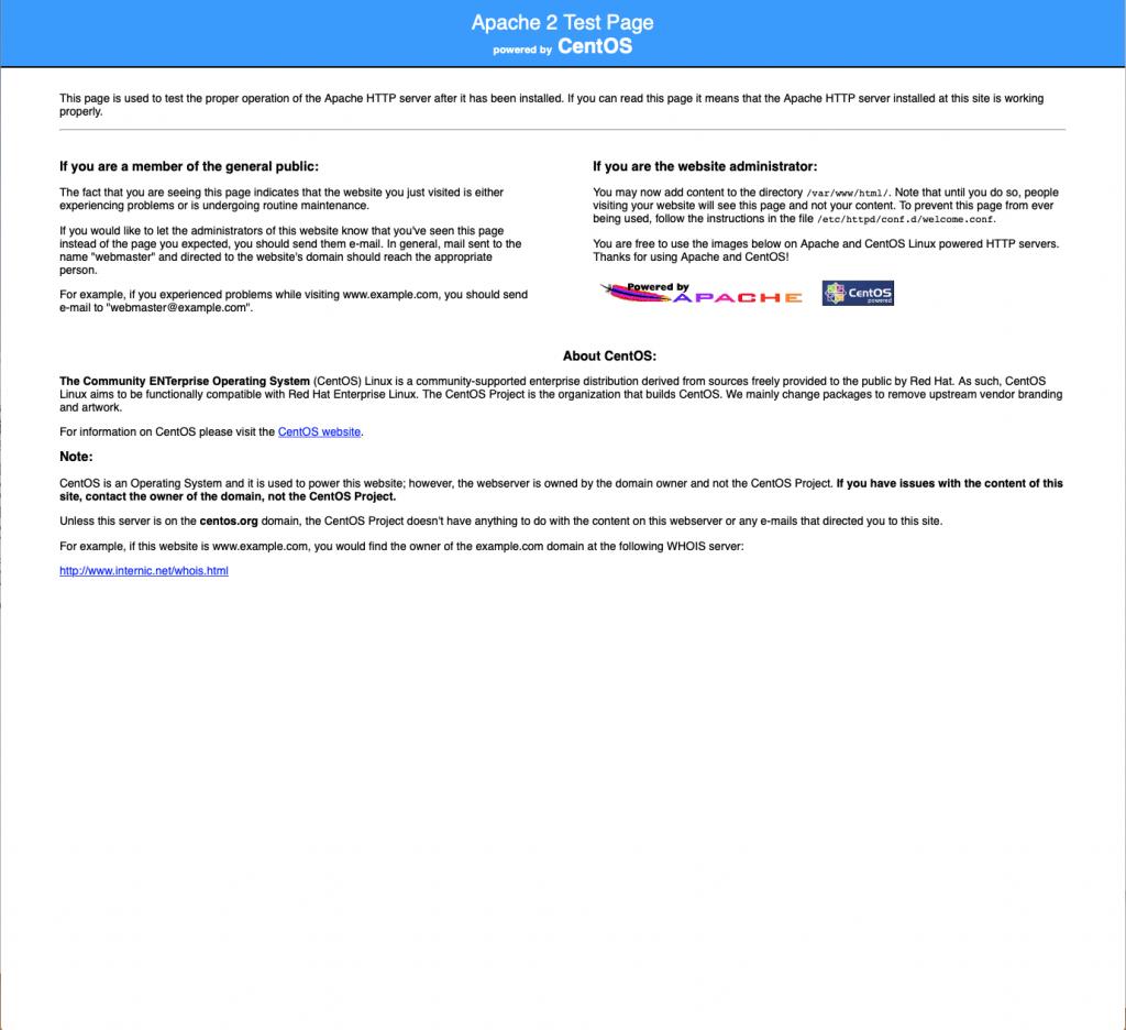 Информационная страница Apache