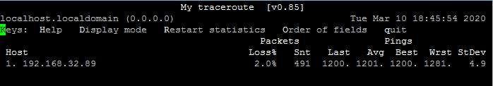Вывод статистики по задержкам и потерям при пинге до другого сервера