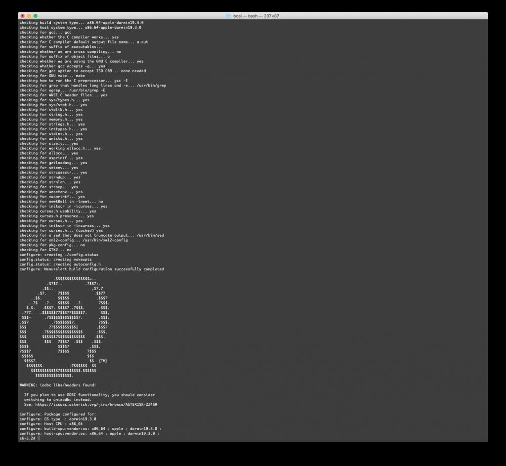 Конфигурирование исходных кодов Asterisk