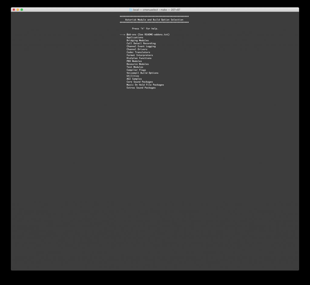 Выбор модулей с помощью menuselect