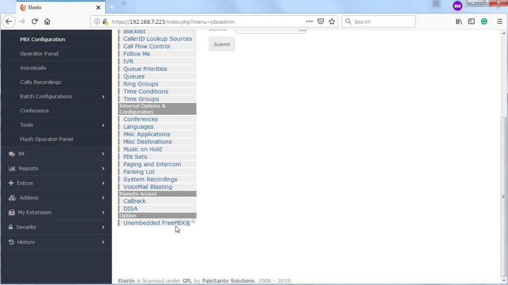 Включение доступа к интерфейсу FreePBX