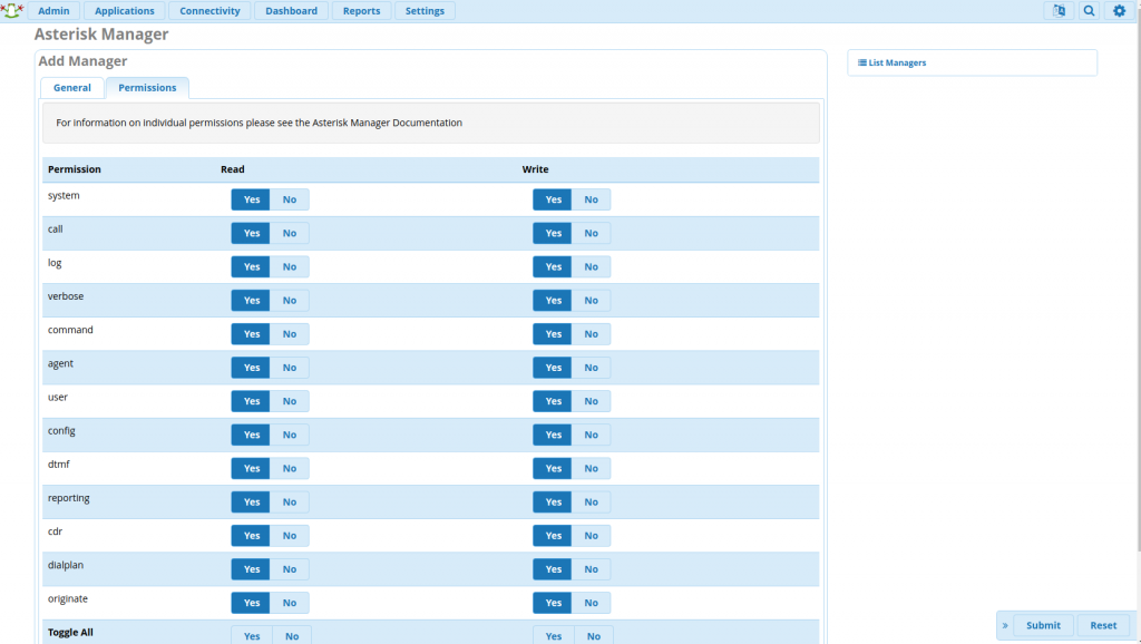 Настройка прав доступа к AMI интерфейсу через FreePBX