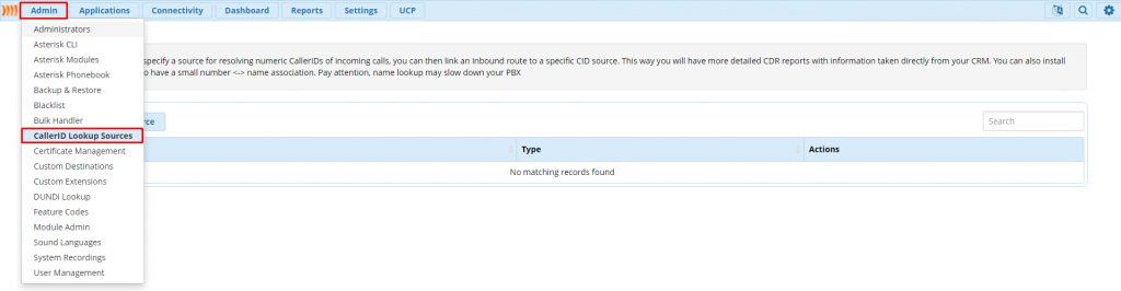 Переход в меню CIDLookup Source