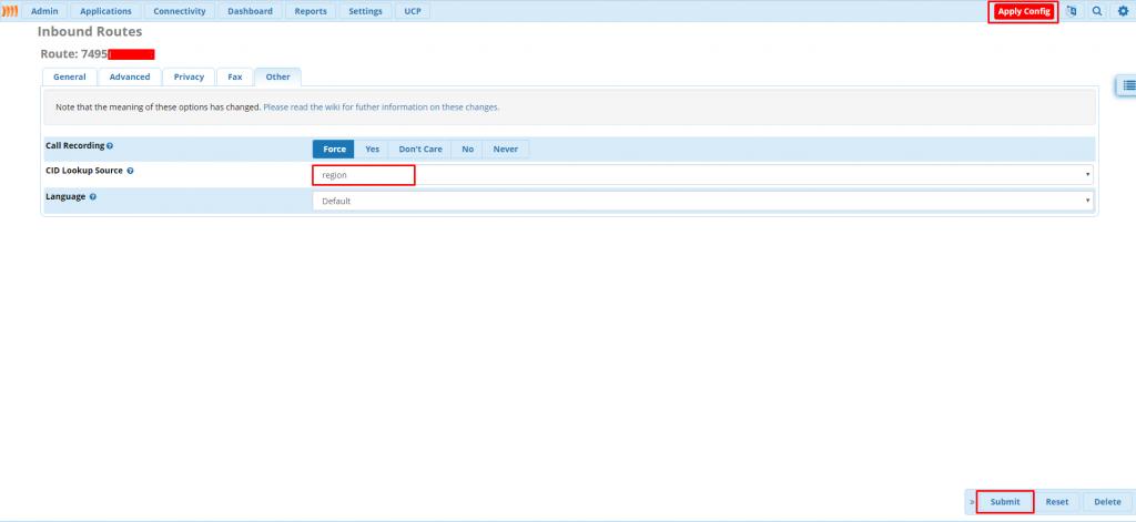 Добавление во входящий маршрут вызова CIDLookup