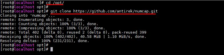 Скачивания приложения NumCAP с GitHub