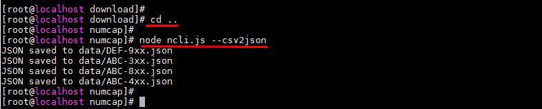 Конвертирование csv в json для NumCAP