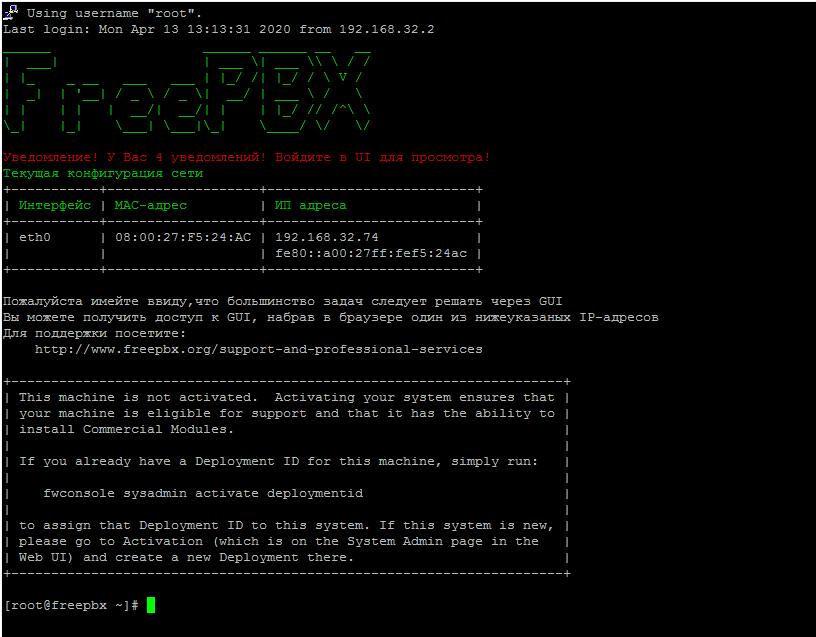 Консольное окно сервера с FreePBX