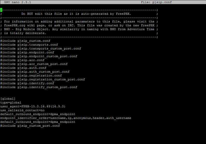 Конфигурационный файл pjsip.conf в FreePBX