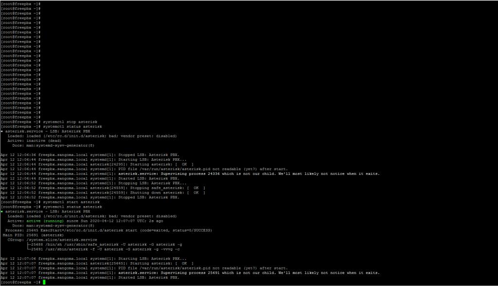 Перезагрузка Asterisk в консоли сервера