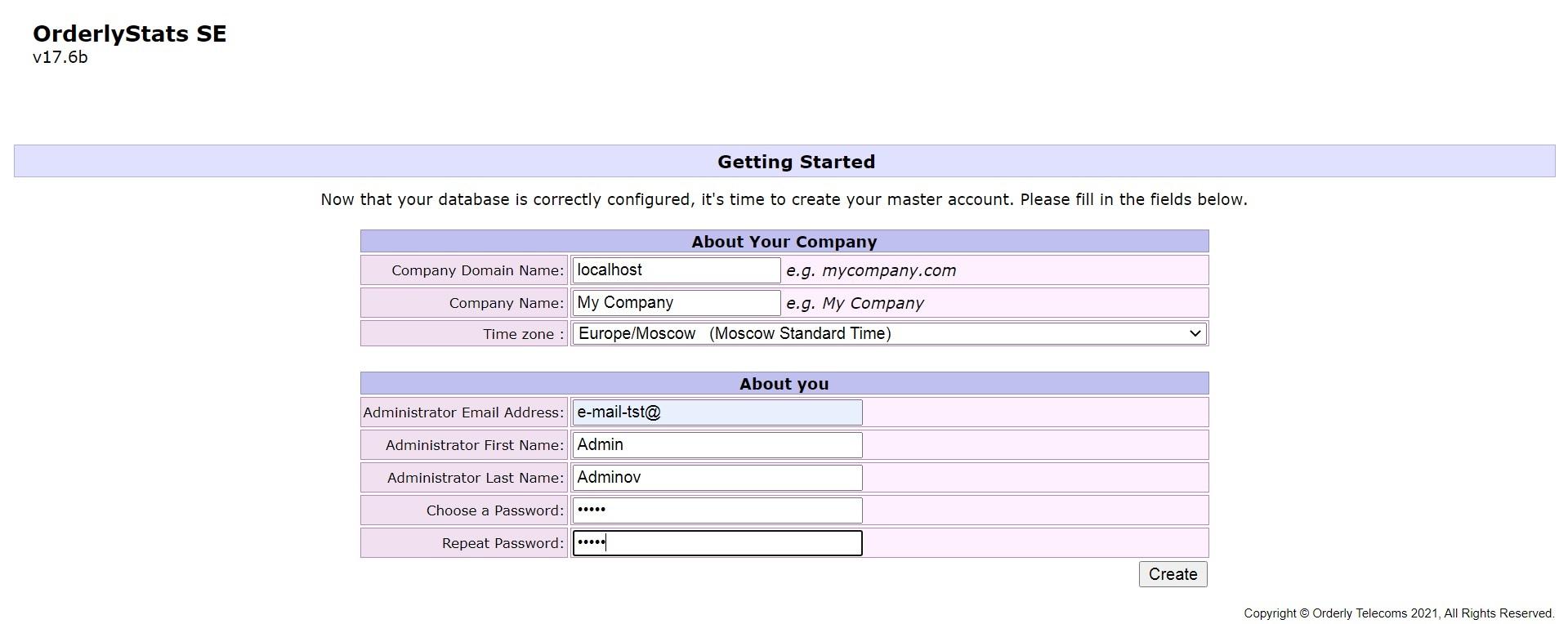 Данные админ-аккаунта