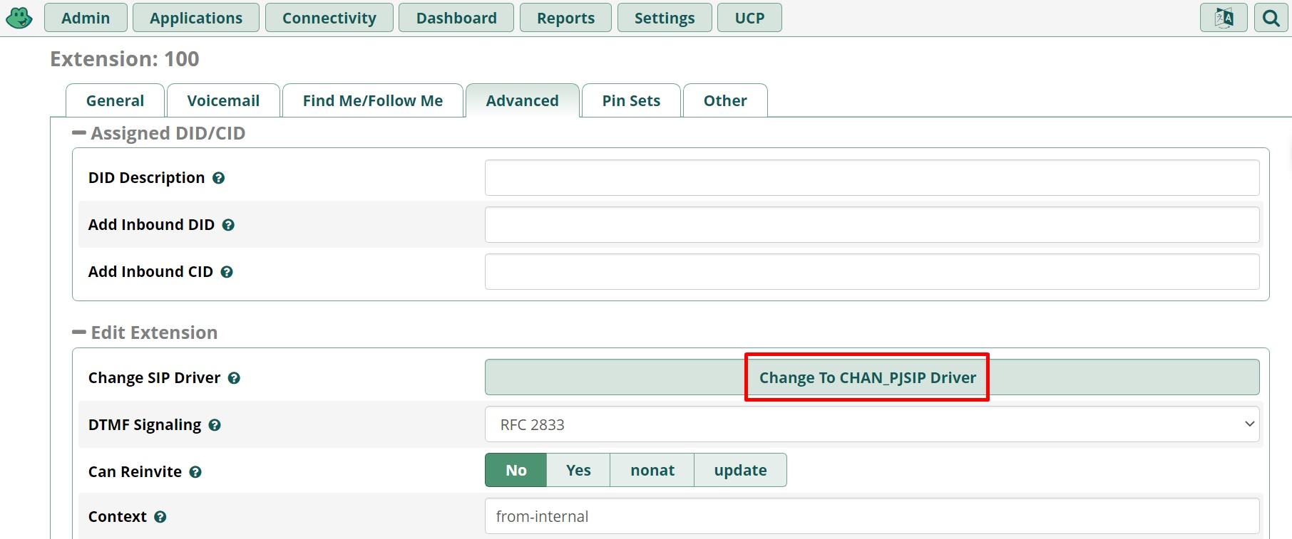 FreePBX изменение канального драйвера в веб