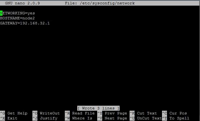 Настройка сетевых параметров на 2 сервере - редактирование /etc/sysconfig/network